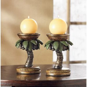 Palm Tree Candle Holder Pair