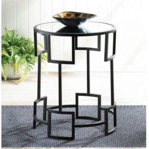 Modern Geometric Mirror-Top Round Side Table