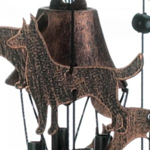 26-inch Bronze Wind Chimes with Bells and Dogs
