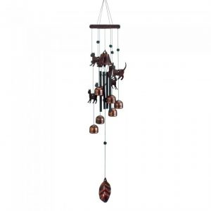 26-inch Bronze Wind Chimes with Bells and Cats