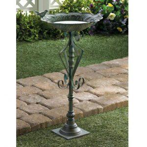 Antique-Look Green Speckled Iron Birdbath