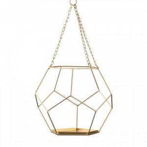 Golden Metal Geometric Prism Hanging Plant Holder