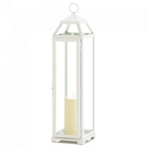 Country White Open Top Metal Candle Lantern – 22 inches