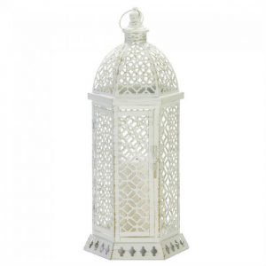 Lacy Cutout Distressed White Candle Lantern – 20 inches