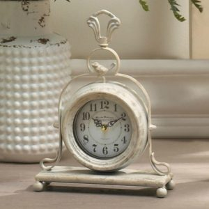 Antique-Style Table Clock with Bird
