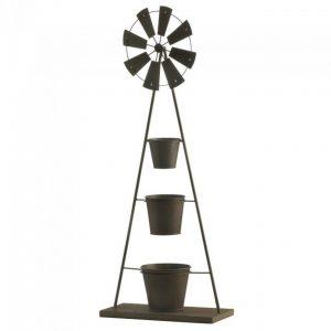 Metal Windmill Plant Stand