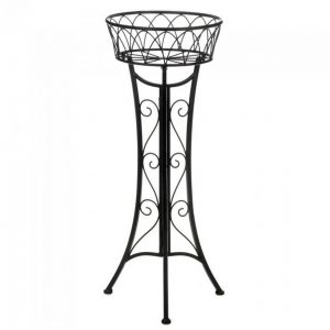 Black Iron Plant Stand with Basket