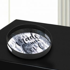 Made With Love Round Mirrored Metal Tray – 15 inches