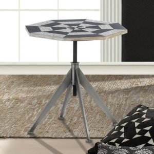 Adjustable-Height Checkerboard Side Table