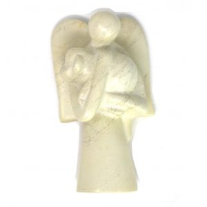 ANGEL SOAPSTONE SCULPTURE HOLDING DOG