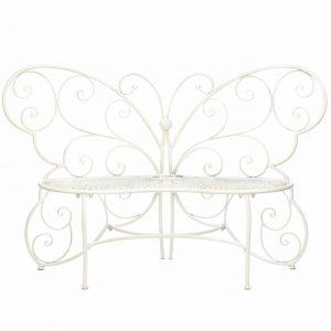 White Butterfly Garden Bench