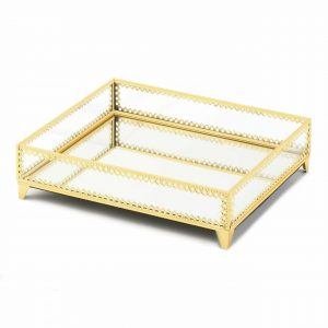 Gold Jewelry Tray with Mirrored Base