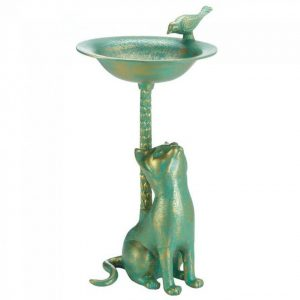 Cat and Bird Aluminum Birdbath