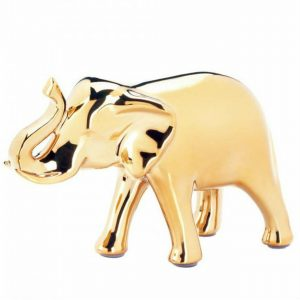 Golden Ceramic Elephant Figurine – 5 inches