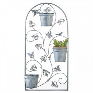 Butterfly Trellis Wall Planter with Metal Pots