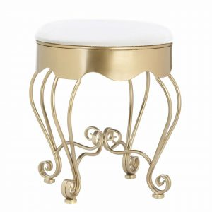 Cushioned Vanity Stool with Scrolled Gold Frame