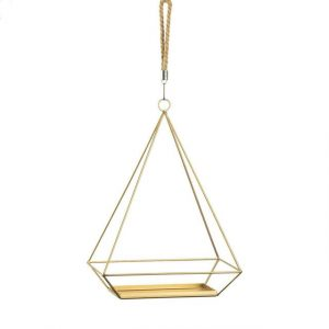Golden Metal Rectangular Hanging Plant Holder