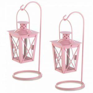 Hanging Railroad Lanterns Pair – Pink