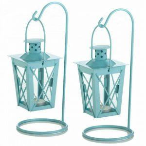 Hanging Railroad Lanterns Pair – Baby Blue