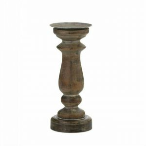 Antique-Style Wood Pillar Candle Holder – 11 inches