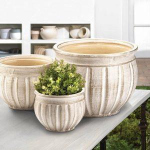 Antique-Look Ceramic Planter Set