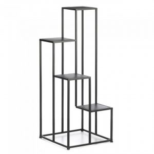 Four-Tier Modern Black Metal Plant Stand or Display Unit
