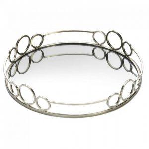 Silver Circles 12-inch Mirror Tray
