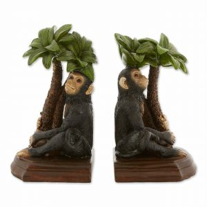 Monkey and Palm Tree Bookends