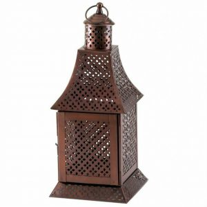 Bronzed Arched Roof Candle Lantern – 14 inches