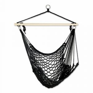 Recycled Cotton Swinging Hammock Chair – Black