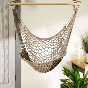 Recycled Cotton Swinging Hammock Chair – Stone