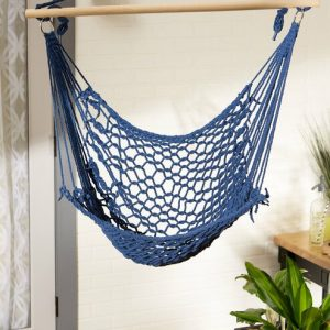 Recycled Cotton Swinging Hammock Chair – Blue