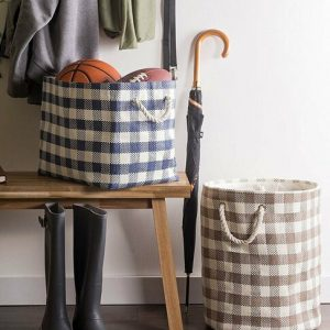 Checked Pattern Woven Paper Bin with Rope Handles – 12 inches