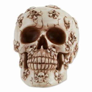 Skull Figurine with Jolly Rogers Designs