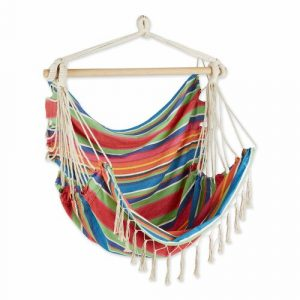 Hammock Chair with Tassel Fringe – Colorful Stripes